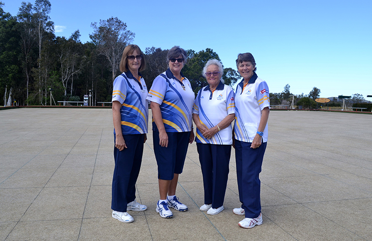 Finalists in the Major Pairs Jean Glover, Karen McPhie, Maynie Roberts and Lorraine Murp