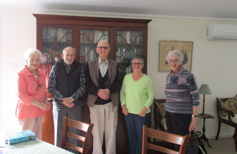 Regular Fingal Bay Probus Club Booklovers, Julia Redlich, Ron McLachlan, Bruce Edwards, Sue Watson and Barbara Edwards.