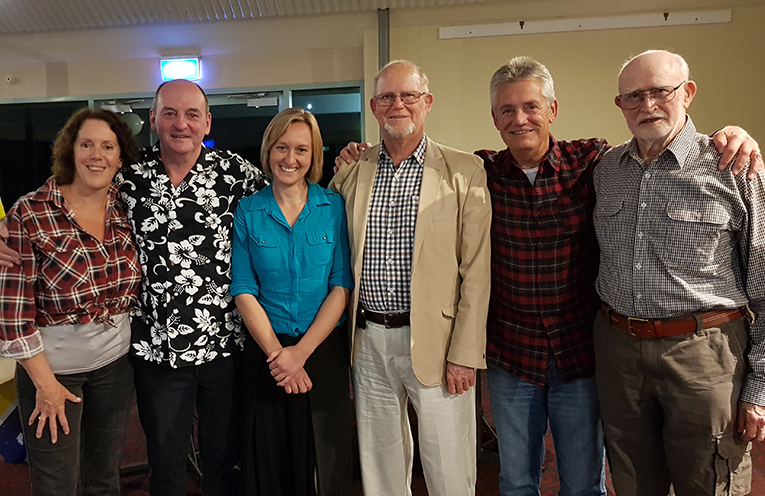COAST TO COUNTRY FUNDRAISER: Julie Sims, John Hughes, Emily Nielson, Keith Harrap, Greg Acret and Bart Huthnance.
