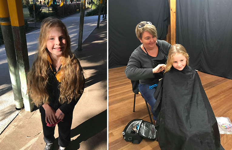 Scarlett and her long locks, on the way to the big chop. (left) Laura from KMR cuts performing the very special haircut. (right)