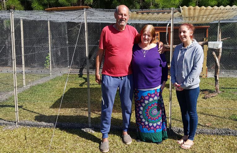 ESTIA'S NEW AVIARY:  Don Elliott, Linda Trappitt and Danika Lockley.