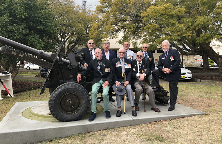 Members of the RSL at the Commemorative ceremony to welcome back the refurbished gun.