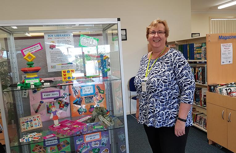 TEA GARDENS LIBRARY: Librarian Carol Johnson.