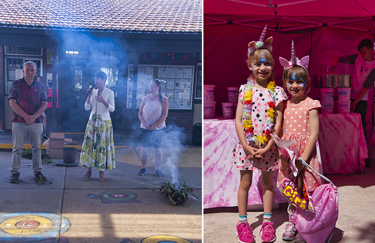 Paul Callaghan, Kate Washington and Olivia Hurstfield open the event. Photos by Jack Drake (left) Cassie and Amy Grey enjoyed the face painter and activities at the fete. Photos by Jack Drake (right)