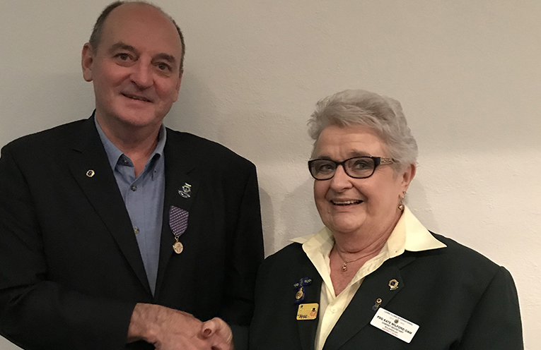 LIONS INTERNATIONAL LEADERSHIP AWARD: John Hughes with Kate Mildford.
