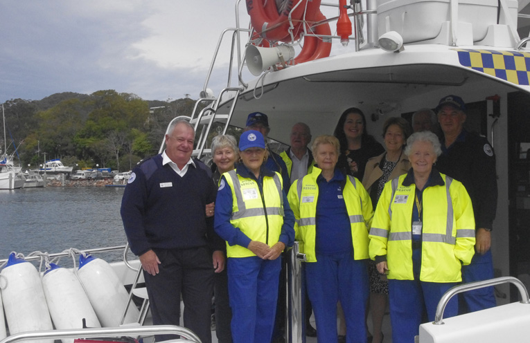 Duty MLC Catherine Cusack with Liberal Party Candidate Jaimie Abbott and some of the Marine Rescue Volunteers. Photo by Marian Sampson.