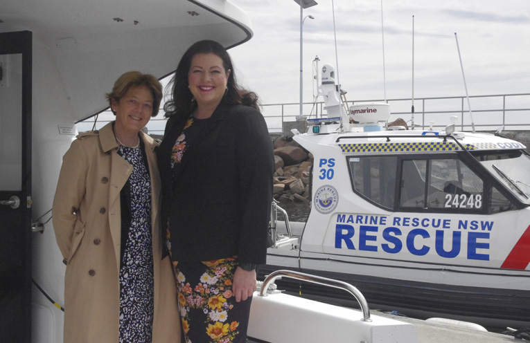 Duty MLC Catherine Cusack with Liberal Party Candidate Jaimie Abbott aboard the Marine Rescue Vessel the John Thompson. Photo by Marian Sampson.