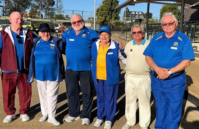 Probus Port Stephens Social Bowlers George Hammond, Kerrie Cordiner, David Long, Marg Crittenden, John Wood-Pidge and John Cordiner.