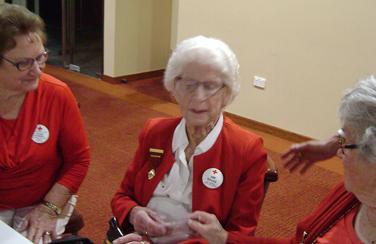 RED CROSS AWARD: June Pollock awarded for 30 years service.