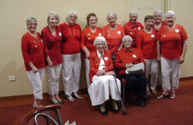 FORSTER VISIT: Members of the Tea Gardens Hawks Nest Red Cross.