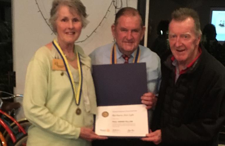 ROTARY AWARD PRESENTATION: Barbara Lyle, Peter Sivyer and Graeme Dunn.