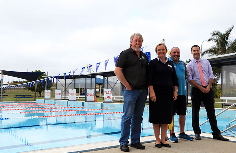 Council's Contract and Services Coordinator Ian Crawford, Belgravia's Northern NSW Area Manager Nicole Dunn, Lakeside Leisure's Assistant Manager Troy Hughes and Mayor Ryan Palmer