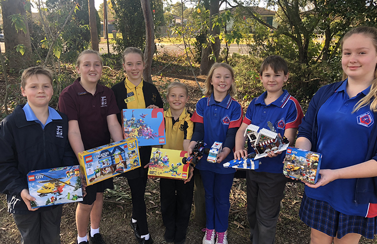 Combined forces for Medowie Brickfest - Micah and Lauren Game from Medowie Christian School, Mackenzie Lord and Callum lord from Medowie Public School and Tayah and Luke Janssen and Ngaia Thomas from Wirreanda Public School.