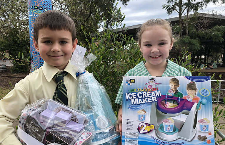 Dillon and Tahlia from Kindergarten are excited for the Spring Fair, and all the exciting activities and raffle prizes on offer.