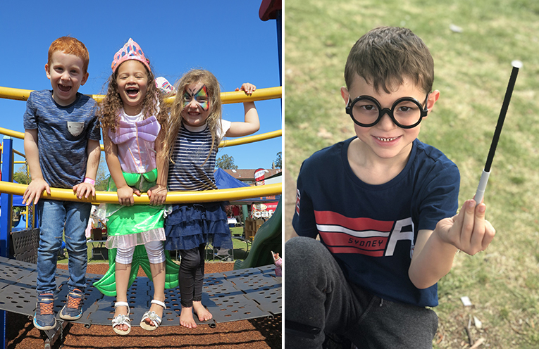 Aiden, Lya and Amity, who will begin kindergarten together in 2019, enjoying the Spring Fair. (left) Eamon Brown trying out his magic tricks show bag.  (right)