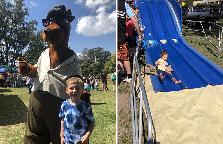 Owen Brown with Ranger Ralph. (left) Amelia on the giant slide. (right)