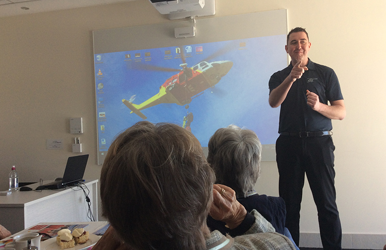 An informative chat by liaison officer Adam Tyirell.