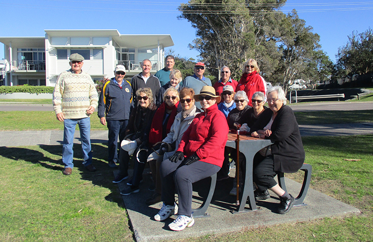 Probus's Walking for Pleasure group take a welcome break after their exploration of Barry Park. Photo by Lynn Moffitt.