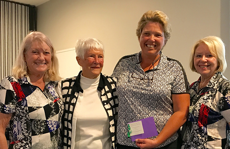 Norma Hocking, Ladies Vice President; Joan Frost, Patroness; Jenny Thompson, Newcastle Golf Club; Pam Norman, Ladies Captain.
