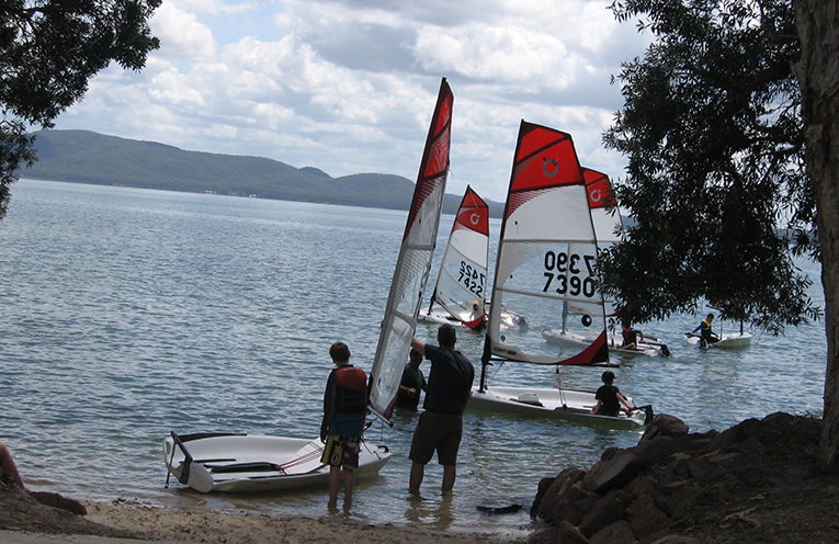 Junior sailors with their 'Bic' trainers at Tanilba Bay.