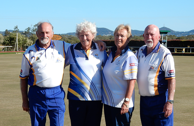 Club Mixed Pairs Champions for 2018, Col and Bette Saillard with runners-up, Sandra Leisemann and Merv Mills.