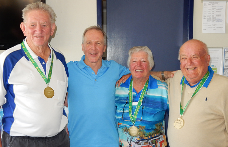 """Gold Medal winners of the """"A Start in Life"""" charity day. Ross Barry, Start in Life CEO, Neil Robinson, Marilyn Dewson and Gary Wynne."""