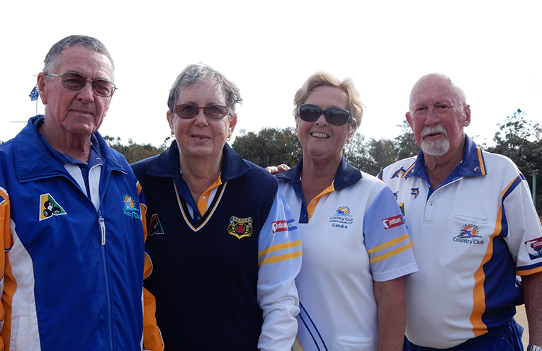 contestants in the second semi-final of the Club Mixed Pairs Graham and Liz Kelly and Sandra Leisemann and Merv Mills.