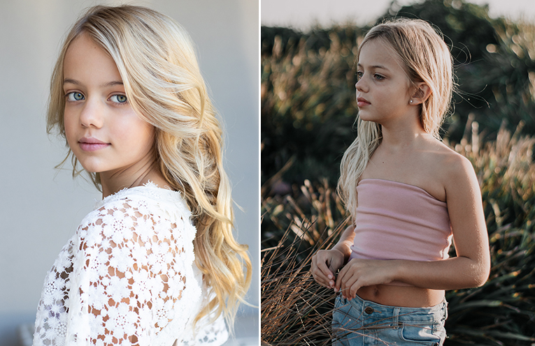 Amber Redman in the Fashion kids magazine cover photo. (left) Amber Redman posing for 'Marlo kids - Summer 1018' (right)