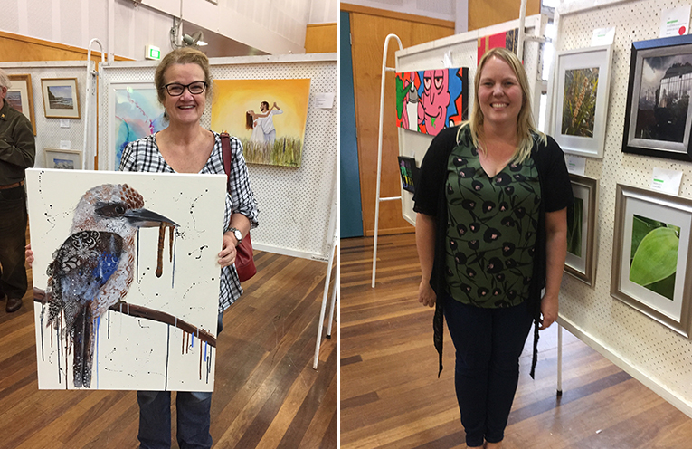 Michele Winn, with her 'People's choice' prize winning piece of art. (left) Winner of the Medowie Tyre and Auto Photographic Award, Laura Breed. (right)