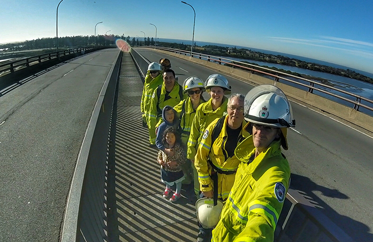 Firies across Port Stephens have trained hard in all kinds of locations, one being Stockton Bridge in full kit.