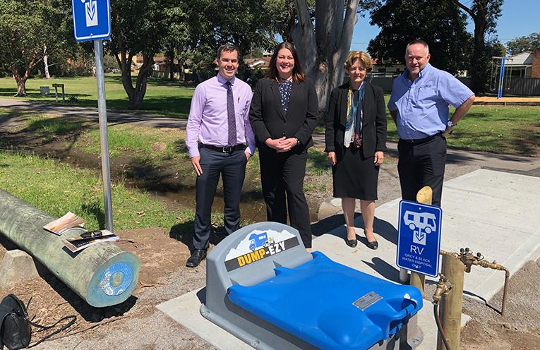 Mayor Ryan Palmer, Councillor Jaimie Abbott, Port Stephens Duty MLC, Catherine Cusack and CMCA CEO RIchard Barwick.
