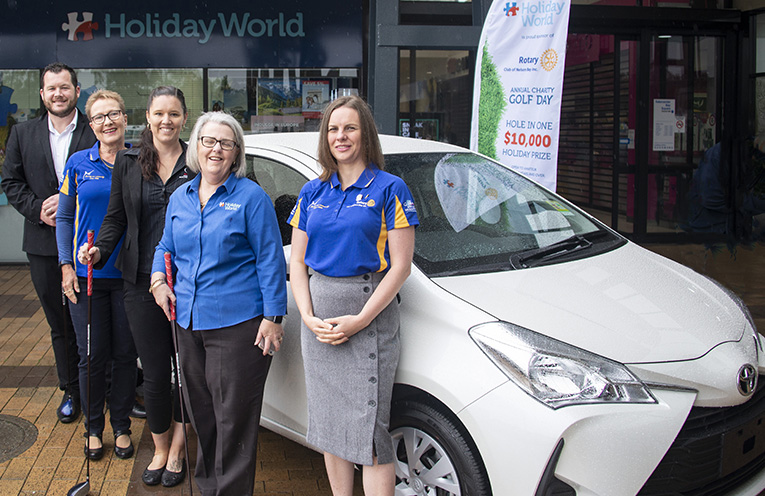 Nelson Bay Rotary Charity Golf Day Hole in One Sponsors and organisers unite to add sparkle this year's event. From Josh Walker (Port Stephens Toyota), Arja Levonpera (Nelson Bay Rotary Golf day organiser) Michelle Smith (Port Stephens Toyota) Narelle Melhuish Holiday World and Nelson Bay Rotary President Kathy Rimmer.