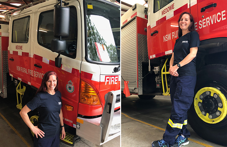 Alice Lavender, back home in the Medowie RFB station. (left) Alice Lavender, home from the conference and back ready for duty at Medowie Rural Fire Brigade. (right)