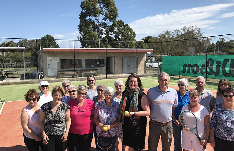 Catherine Cusack, Jaimie Abbott and Steve Tucker with representatives from Tilligerry Tennis Clubhouse at the recent announcement of funding for sports clubs across Port Stephens.