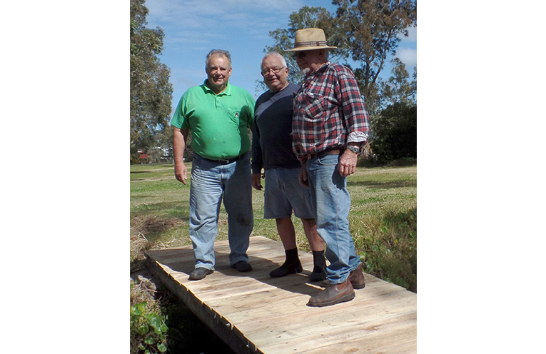 MEN'S SHED VOLUNTEERS: Ray Curtis, Rob Hughes and John Price.