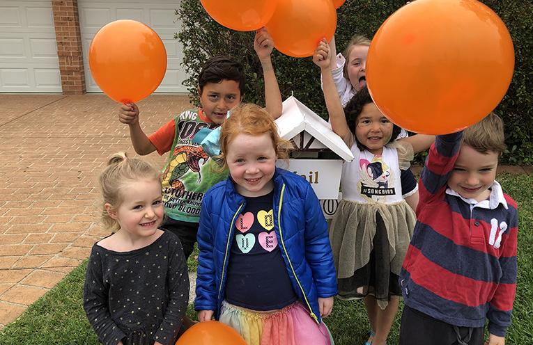 Medowie's orange balloons for Halloween are back.