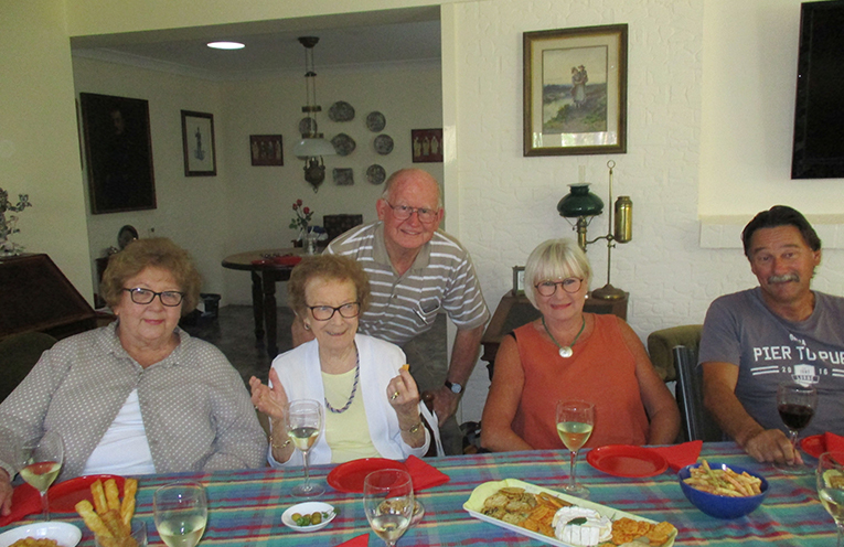 Wine appreciation with Margaret Marlin, Thelma  Wynn and her visiting family, and Norman Martin.  Photo by Lynn Moffitt.