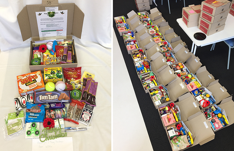 An example of items you might like to include in a package. (left) Boxes lined up, ready for posting to our troops last year.  (right)