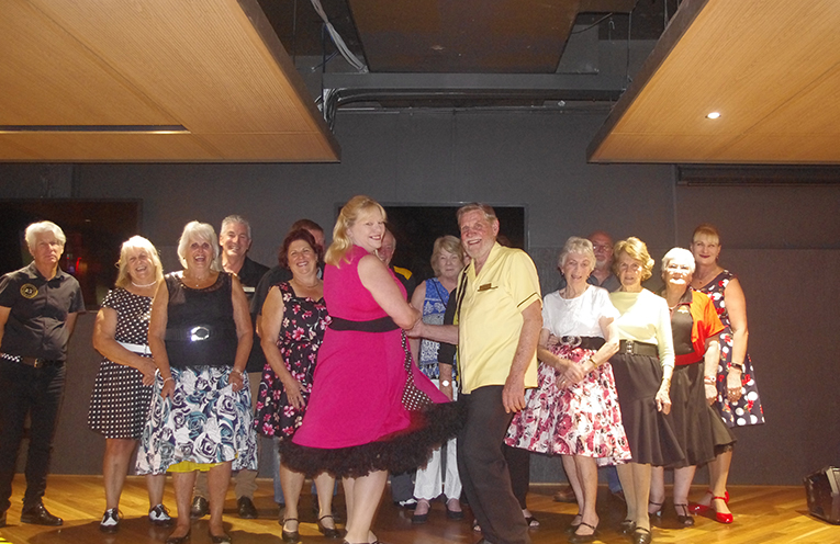The Nelson Bay Rock N Roll Club ready to kick up their heels. Photo by Marian Sampson.
