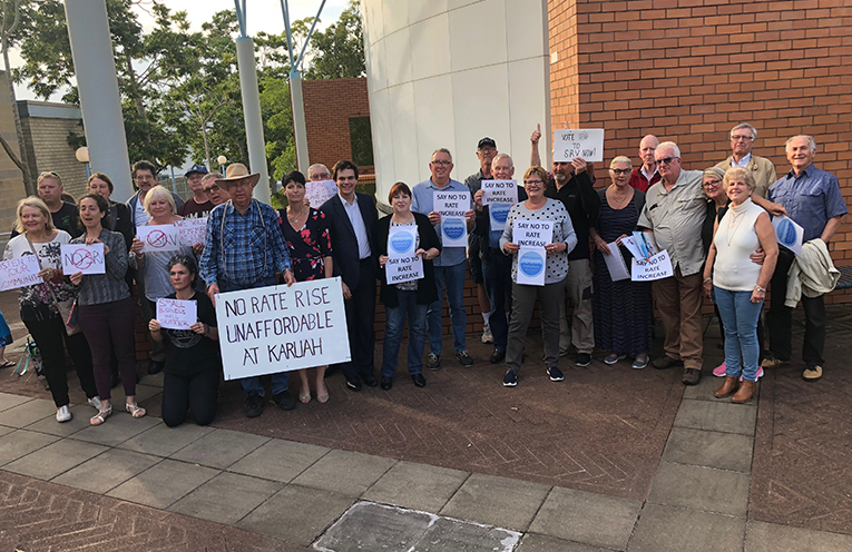 Members of the public who attended last week's council meeting to oppose the rate rise.