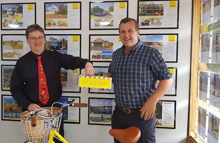 SCHOOL DONATION: Principal Mark Clemson and Stuart Sinclair.