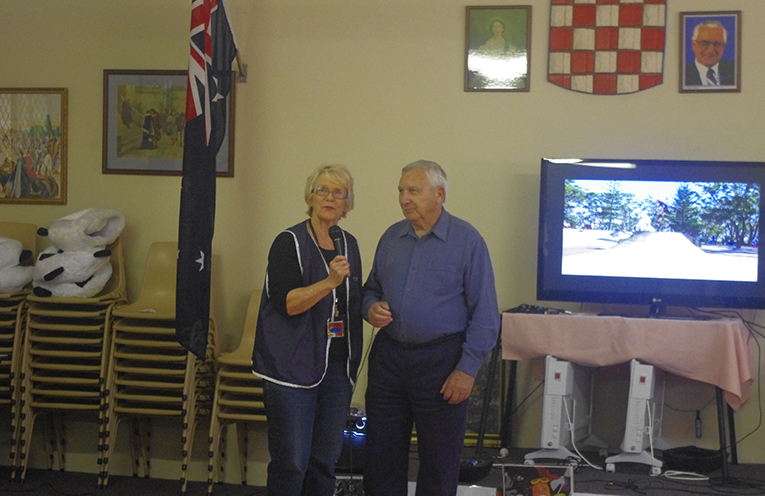 TYCA supporter Sally Dover with Nelson Bay Croatian Fisherman's Sports Club President Peter Skoljarev. Photo by Marian Sampson.