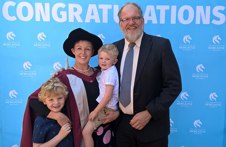Rachael O'Brien at graduation with her husband Sean, and her sons Ollie and Dougall.