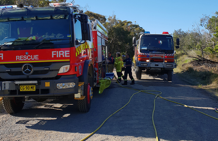 HAWKS NEST: RFS responds to scrub fires near Jimmy's Beach.