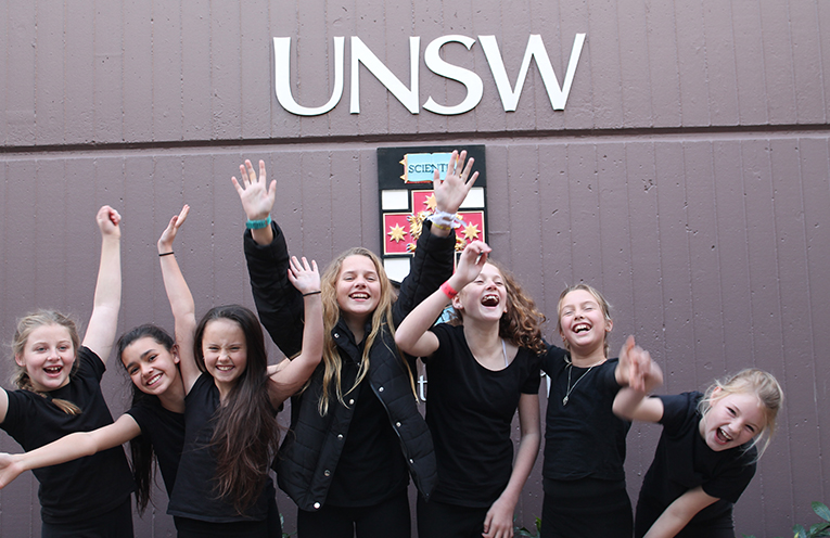 The Raymond Terrace Public School team of Libby, Talleira, Shakyia, Mikayla, Jasmine, Alya and Kaylee, competing at the University of New South Wales.