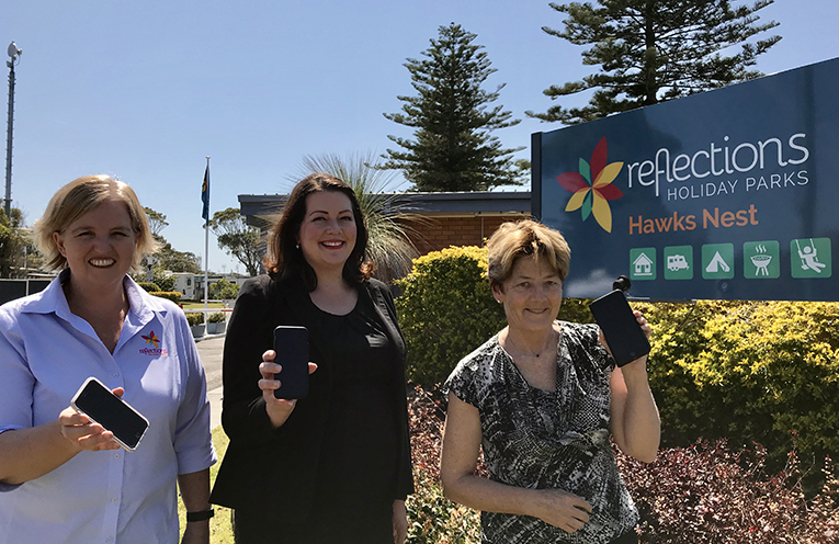 Reflections Holiday Parks Executive Manager Finance & IT, Michelle Griffin, Liberal candidate for Port Stephens, Jamie Abbott & Parliamentary Secretary for Digital Inclusion and Port Stephens MLC, Catherine Cusack.