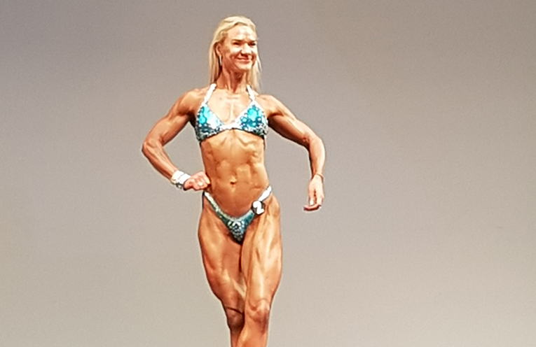 Joy Flint on stage at the Australian National Championships in Melbourne last weekend, where she placed second.