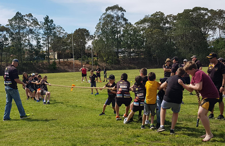 Medowie Junior Rugby players enjoyed a series of activities to celebrate the end of the season, including a spirited tug of war tournament.