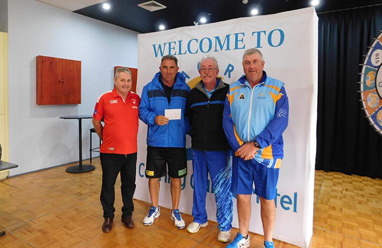 WINNERS PRESENTATION: Warren Gooley with Mick Brennan, Richard Lee and Steve Brennan.