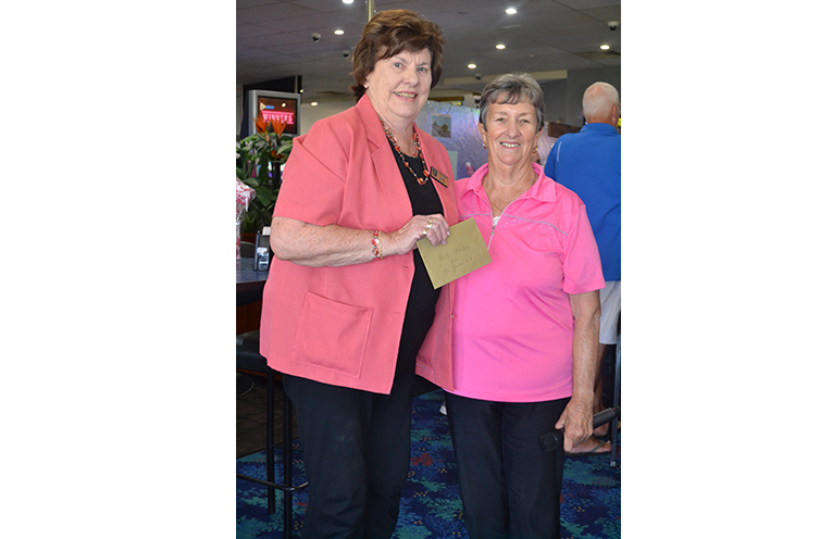 Elaine Wellard, President Mater Auxiliary receiving a cheque from TGWBC President Robyn Webster.